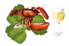Delicious dinner. Vector image of lobster with salad and white wine Royalty Free Stock Photos