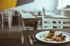 Delicious dinner in elegant restaurant Royalty Free Stock Photo