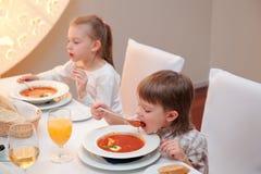 Delicious dinner in restaurant stock photos