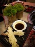 Delicious dinner Tempura I love you stock image