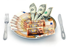 A delicious dish for breakfast. Cash salad popular currencies in the world Stock Photography