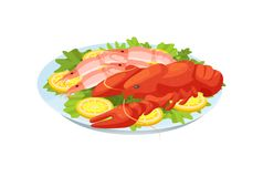 Delicious dish - crayfish and shrimps, with greens and lemons. Festive seafood dishes food cooked, modern delicacies with a presentation on the plate. Delicious vector illustration