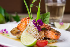 A delicious dish of grilled salmon Royalty Free Stock Images