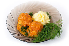 Delicious dish with meatballs Stock Photography