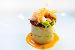 Delicious dish with prawns Royalty Free Stock Image