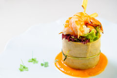 Delicious dish with prawns Stock Image