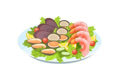 Delicious dish - shrimps and mussels, with delicate salad, greens, lemons. Festive seafood dishes food cooked, modern delicacies with a presentation on the vector illustration
