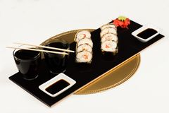 Delicious dish of sushi rolls royalty free stock photo