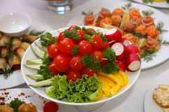 Delicious dishes. Some appetizing food at banquet table Royalty Free Stock Images