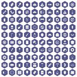 100 delicious dishes icons hexagon purple Stock Photos