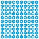100 delicious dishes icons set blue. 100 delicious dishes icons set in blue hexagon isolated vector illustration vector illustration