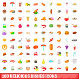 100 delicious dishes icons set, cartoon style Stock Photos