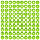 100 delicious dishes icons set green circle Stock Photography