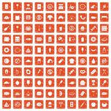 100 delicious dishes icons set grunge orange. 100 delicious dishes icons set in grunge style orange color isolated on white background vector illustration Stock Photo