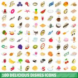 100 delicious dishes icons set, isometric 3d style. 100 delicious dishes icons set in isometric 3d style for any design illustration royalty free illustration