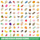 100 delicious dishes icons set, isometric 3d style. 100 delicious dishes icons set in isometric 3d style for any design vector illustration Stock Image