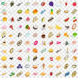 100 delicious dishes icons set, isometric 3d style Stock Photo