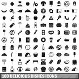100 delicious dishes icons set, simple style Stock Photos