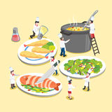 Delicious dishes with little cooks Stock Image