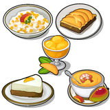 Delicious dishes made from tropical mango. Cheesecake, pie, ice cream and cereal. Vector food and drink illustration on a white background for your design Stock Images