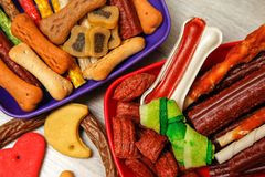 Delicious for dogs or dog`s snacks royalty free stock photo