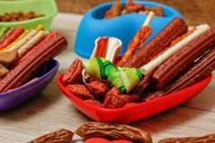 Delicious for dogs or dog`s snacks stock images
