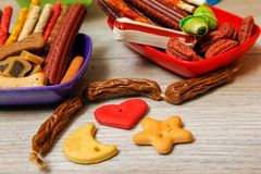 Delicious for dogs or dog`s snacks stock photo