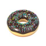 Delicious donut with chocolate icing and sprinkles Stock Photography