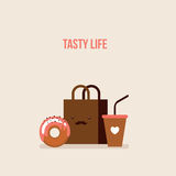 Delicious donut Coffee Shopping bag Online food order flat design Stock Photo