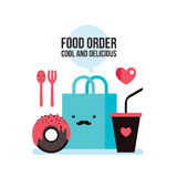 Delicious donut Coffee Shopping bag Online food order flat design. Vector illustration Stock Photos