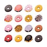 Delicious donut icon set Sweet dessert flat isometric 3d design Stock Photos