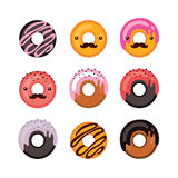 Delicious donut icon set Sweet dessert Modern hipster flat design Royalty Free Stock Photos