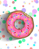 A delicious donut in a pink frosting with sprinkle and chipped chocolate Royalty Free Stock Images