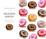 Delicious donuts dessert menu page layout Vector Stock Image