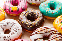Delicious donuts of different flavors Stock Photography