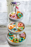 Delicious donuts in the rustic kitchen Stock Photos