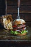 Delicious double burger Stock Photo