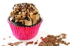 Delicious double-chocolate cupcake Royalty Free Stock Image