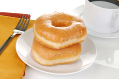 Delicious doughnuts and coffee Royalty Free Stock Photo