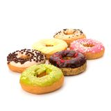 Delicious doughnuts isolated on white background Stock Images