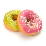 Delicious doughnuts isolated on white background Royalty Free Stock Images