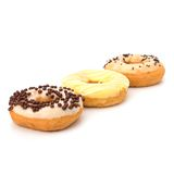 Delicious doughnuts isolated on white background Royalty Free Stock Photo