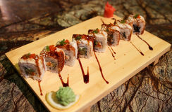 Delicious Dragon maki sushi rolls Royalty Free Stock Images