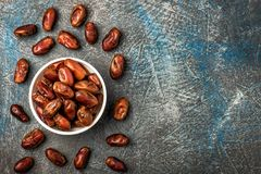 Delicious dried dates, a favorite dish of many gourmets royalty free stock photography
