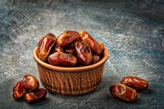 Delicious dried dates, a favorite dish of many gourmets royalty free stock photos