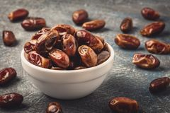 Delicious dried dates, a favorite dish of many gourmets royalty free stock image
