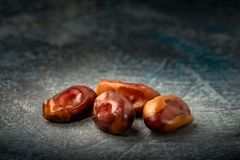 Delicious dried dates, a favorite dish of many gourmets stock photography
