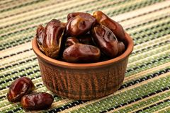 Delicious dried dates, a favorite dish of many gourmets royalty free stock photo