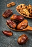 Delicious dried dates, a favorite dish of many gourmets stock photo