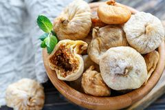 Dried figs in a bowl closeup. Royalty Free Stock Image